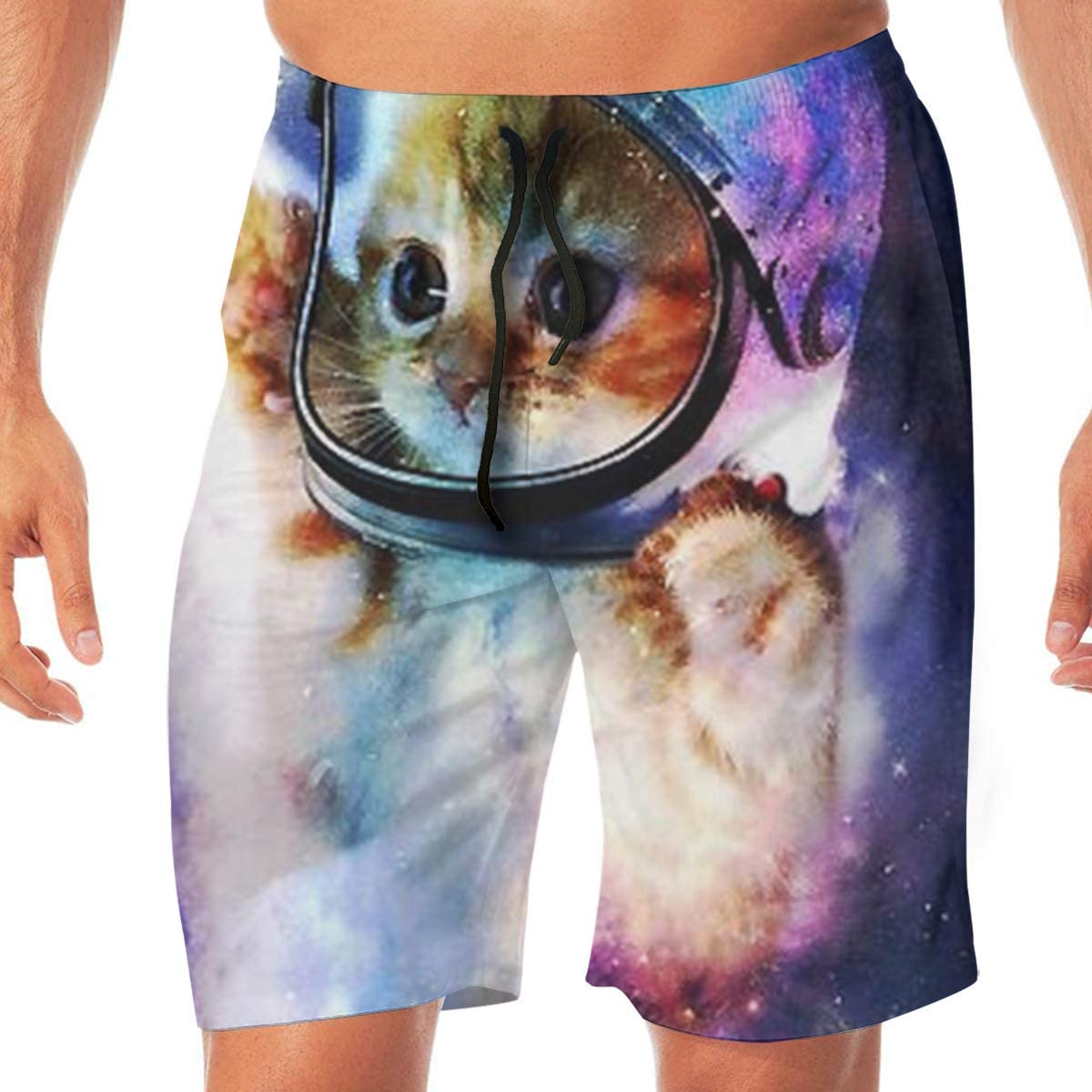 MaoYTUI Astronaut Cat in Space Mens Swim Trunks Boys Quick Dry Bathing Suits Drawstring Waist Beach Broad Shorts Swim Suit Beachwear with Mesh Lining