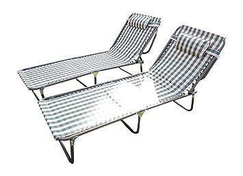 Set de 2 sillas de jardín tumbonas, acolchadas, en color ...
