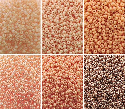 Peach Blush Collection - 6 Color Mix Miyuki Round Rocaille Seed Beads Size 11/0, Each in 2, 8.5 Gram Tube