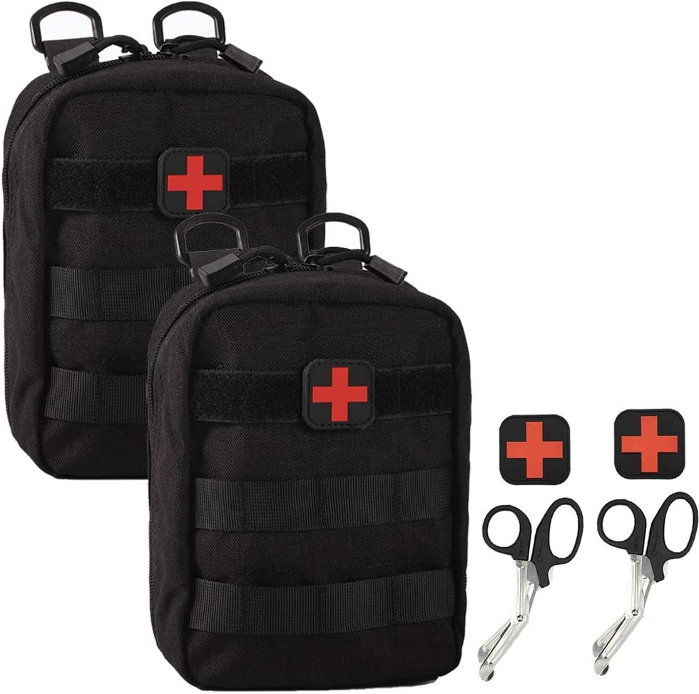 Medical Pouch - 1000D Tactical MOLLE EMT Pouches First Aid IFAK Utility Bag with First Aid Patch and Shear (2 Pack Black) : Sports & Outdoors