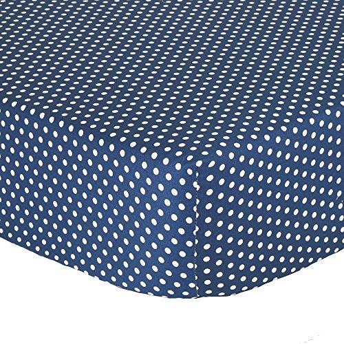 Navy Blue Confetti Dot Fitted Crib Sheet - 100% Cotton Baby Boy Geometric Polka Dot Design Nursery and Toddler Bedding