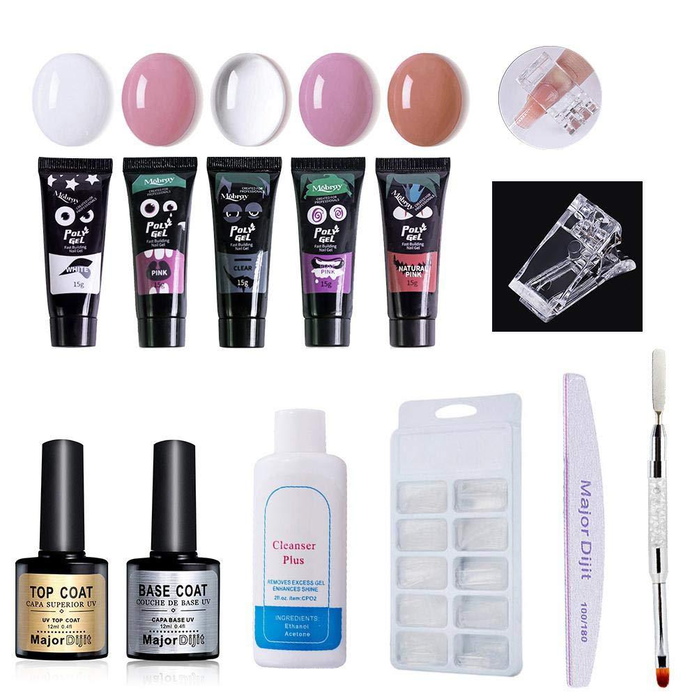 Polygel Nails Kit, Nail Poly Gel UV LED Builder Extension Set with 5 * Poly Gel, Gel Nail Slip Solution 60ml, Top Coat & Base Coat, 100pcs Nail Tips Mold, Dual Head Nail Brush, Clip & Nail File Teepao
