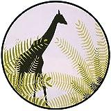 Printing Round Rug,Africa,Silhouette of Giraffe Ferns National Park Terrestrial Tall Animal Print Decorative Mat Non-Slip Soft Entrance Mat Door Floor Rug Area Rug For Chair Living Room,Pale Green Dar