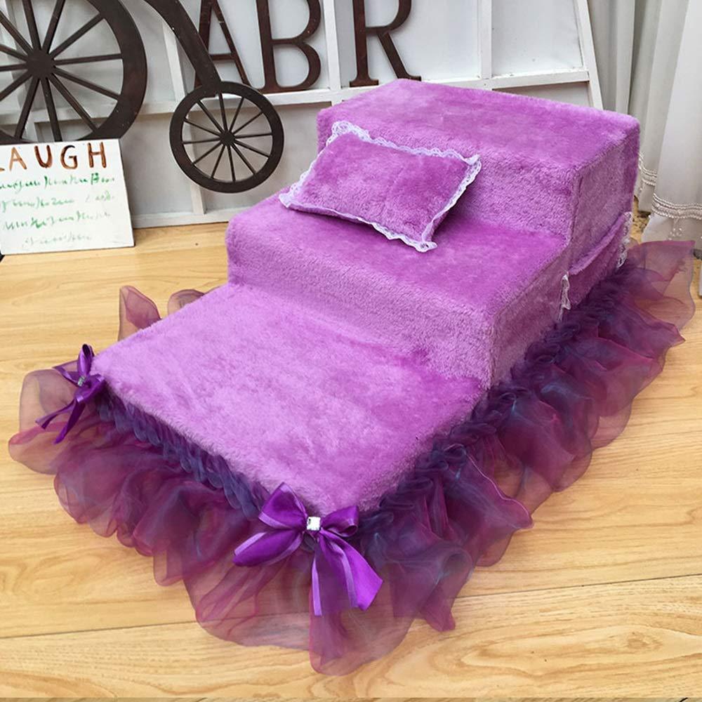 Purple 80×40×40cm Purple 80×40×40cm Pet Climbing Supplies Dog Stairs Steps High-Density Sponge Washable Handmade (Multiple colors) (color   Purple, Size   80×40×40cm)