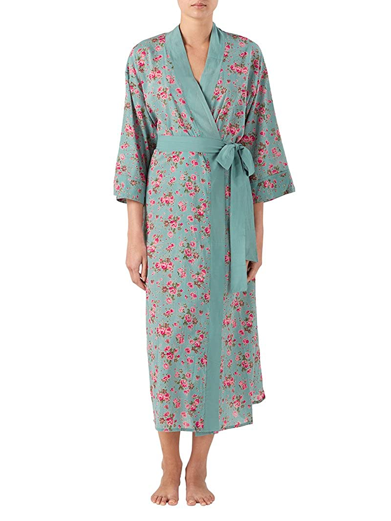 Gabrielle Parker Cotton kimono Dressing gown in rambling rose dusky blue