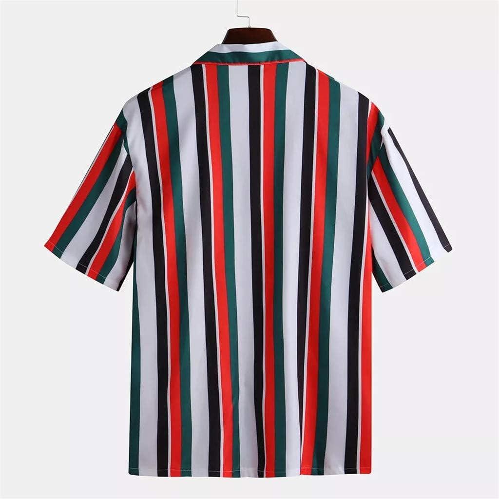WUAI-Men Fashion Hippie Shirts Short Sleeve Casual Vertical Striped Button Down Poplin Shirts