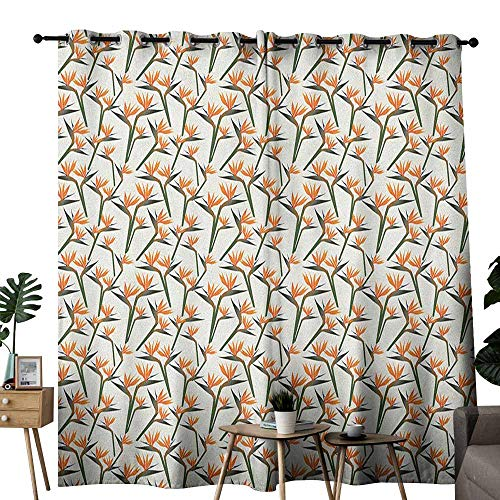 - duommhome Spring Fashion Curtain Contemporary Style Birds of Paradise Flowers Tropical Garden Blossoms Bedding Plants for Living, Dining, Bedroom (Pair) W72 x L108 Multicolor