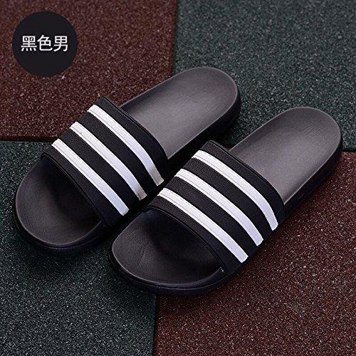 leisure pantofole pantofole sandali indoor Nero44 spessa slittamento uomini soggiorno e bagno DogHaccd scanalato cool anti marea bagno Estate outdoor ZqwxnC7dET