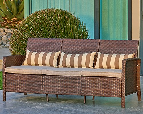 Garden Modular (Suncrown Outdoor Modular Furniture Patio Sofa Couch (Seats 3) Garden, Backyard, Porch or Pool | All-Weather Wicker with Cushions | Easy to Assemble)