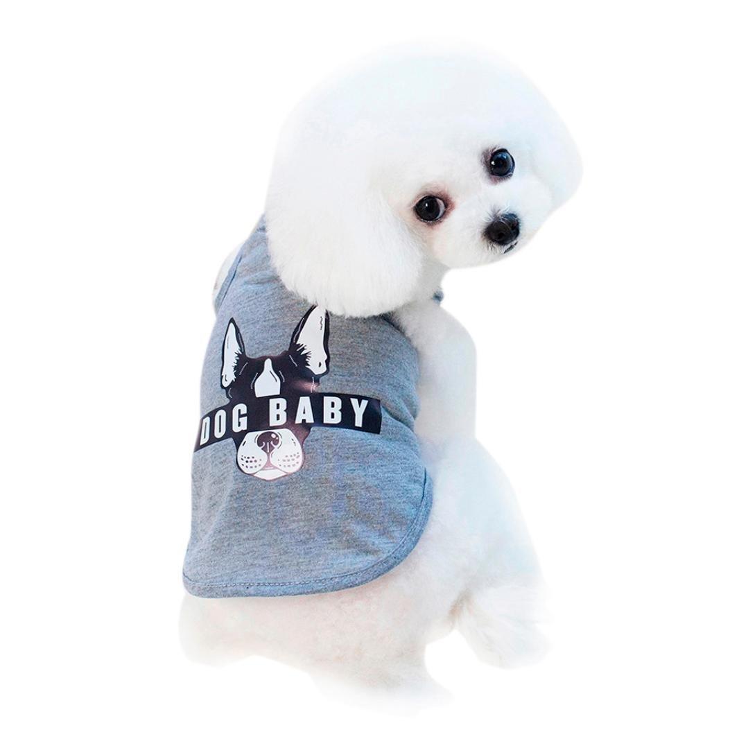 ペットシャツ、ooeoo Dogbaby衣装Small犬服子犬ベスト犬猫かわいい夏服 S B07CT1YR7S グレー Small