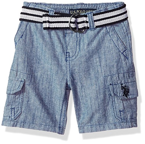 Button Fly Boyshort (U.S. Polo Assn. Baby Boys Short, Washed Chambray Blue, 12M)
