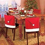 IXI Santa Hat Chair Covers, Set of 4 PCS Santa Clause Red Hat Chair Back Covers Kitchen Chair Covers Sets for Xmas Holiday Festive Decor