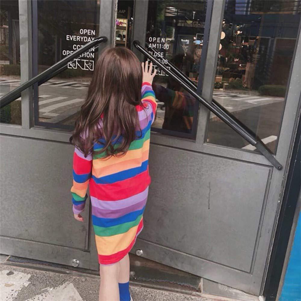 KONFA Teen Toddler Baby Girls Stylish Rainbow Striped Dress 1-6 Years,Little Princess Long Sleeve Skirt Pullover Clothes Set