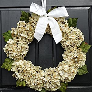 Year Round Cream Artificial Hydrangea Wreath for Spring Summer All Season Front Door Decor; Small - Extra Large Sizes 113