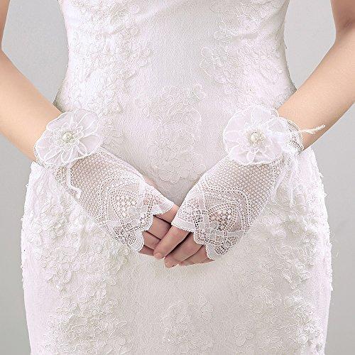 沼地郵便局農学レース フラワー 花嫁手袋 ウエディンググローブ ショート 手袋 フィンガーレス 結婚式 教会挙式 披露宴