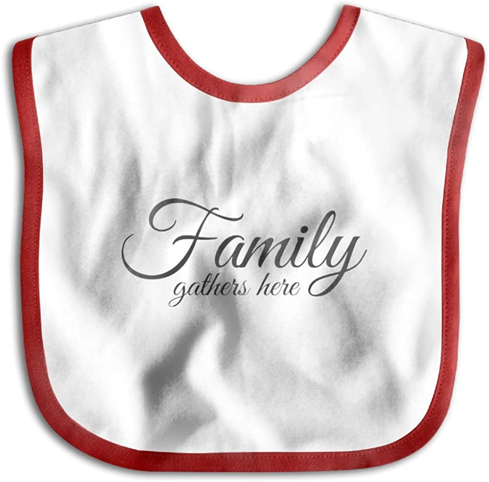Family Gathers Here Personalized Scarf Bib Feeding /& Teething Fancy Baby Bibs and Burp Cloth Polyester Cotton