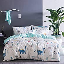 Auvoau Simple Style Bedding Set Dinosaur Bedding Duvet Cover Set Children's Cartoon Duvet Cover Set (1, Queen-Fitted Sheet)
