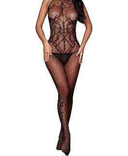 6bb43ab2c3a Amazon.com  Jelove Women s Sexy Fishnet Bodystocking Leopard Print ...