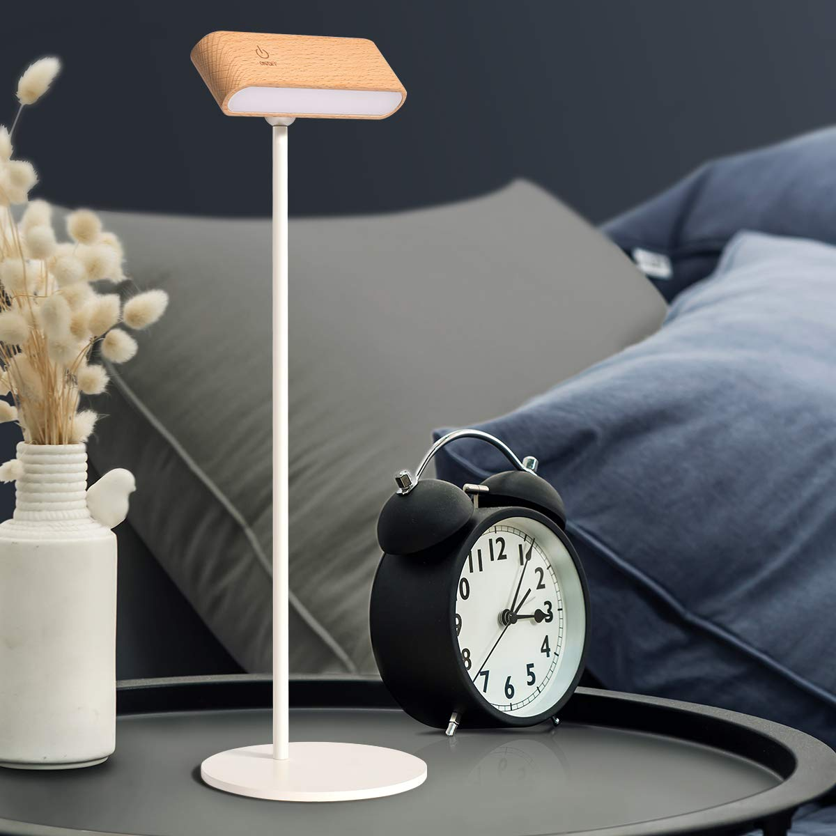 LED Reading Light Modern Wooden Dimmable 360 Adjustable Reading Lamp, USB Rechargeable Cordless Portable Books Reading Lighting Battery Powered for Office College Dorm Study Home Bedroom Bedside