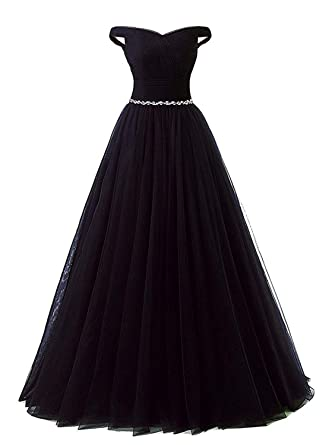 Meaningful Long Tulle Prom Dresses Gown Off Shoulder Sweetheart A-line Formal Evening Dress with