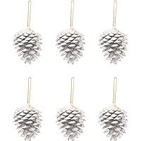 Kikajoy Yılbaşı Çam Ağacı Süsü Kozalak Gümüş 5 cm 6'lı