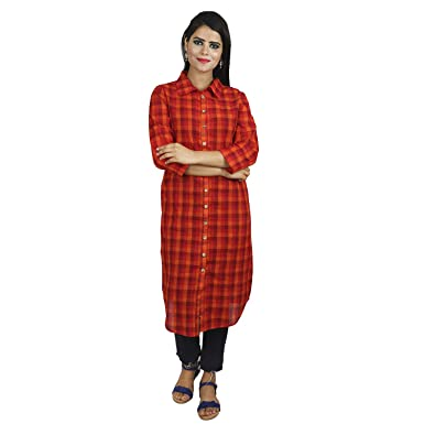 ab89b5f59b Trunk Theory Women Checked Shirt Dress - Red/Orange: Amazon.in ...