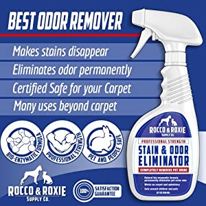 Rocco & Roxie Professional Strength Stain & Odor Eliminator - Enzyme-Powered Pet Odor & Stain Remover for Dog and Cat Urine