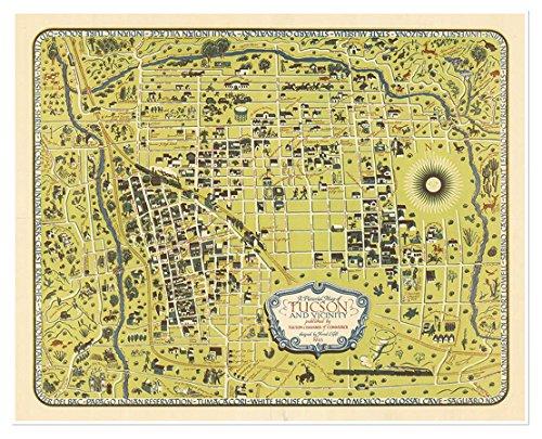 Tucson Catalog House - Antiguos Maps Map of Tucson, Arizona & Vicinity Circa 1943 - Measures 24