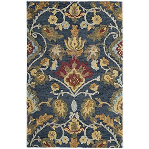 Cheap Safavieh Blossom Collection BLM402A Handmade Navy and Multi Premium Wool Area Rug (3′ x 5′)