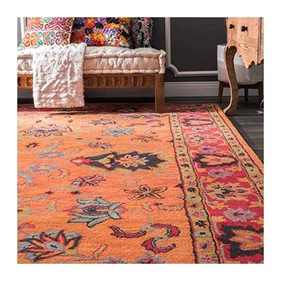 """nuLOOM Montesque Hand Tufted Wool Runner Rug, 2' 6"""" x 10', Orange - Style: Traditional Color : Orange Actual Size: 2' 6"""" x 10' - runner-rugs, entryway-furniture-decor, entryway-laundry-room - 61KRNAngq2L. SS570  -"""