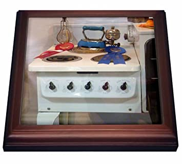 3dRose Vintage Estufa - Salvamanteles con Azulejos de cerámica, 8 por 8 Pulgadas, cerámica