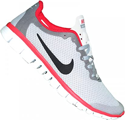Nike - Basket Running - Femme - Free Run - Blanc Gris Rouge ...