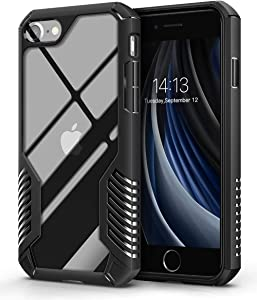 MOBOSI Case Compatible with iPhone SE 2020/iPhone 8/iPhone 7, Heavy Duty Military Grade Shockproof Drop Protection Vanguard Armor Cover Compatible with iPhone SE 2nd Gen/8/7 4.7 Inch (Matte Black)