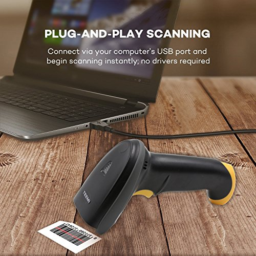 TEEMI 2D barcode scanner with stand USB wired Handheld Automatic QR Data matrix PDF417 bar codes Imager for Mobile Payment Computer Screen Scan support Windows Mac and Linux PC POS by TEEMI (Image #5)