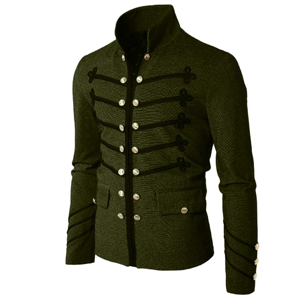 Men Gothic Vintage Jacket Double Breasted Formal Gothic Victorian Coat Costume (S, Army Green) by Yihaojia Men Blouse