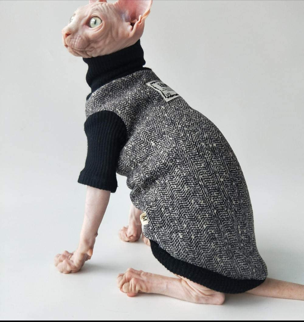 DOUJIN Sphynx Hairless Cat Clothes,Cute Pet Cat Sweater Warm in Winter XS