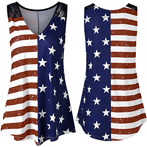 POQOQ T Shirts USA American Flag Tank Top Lace Patchwork Sleeveless Patriotic 4th July Wine]()