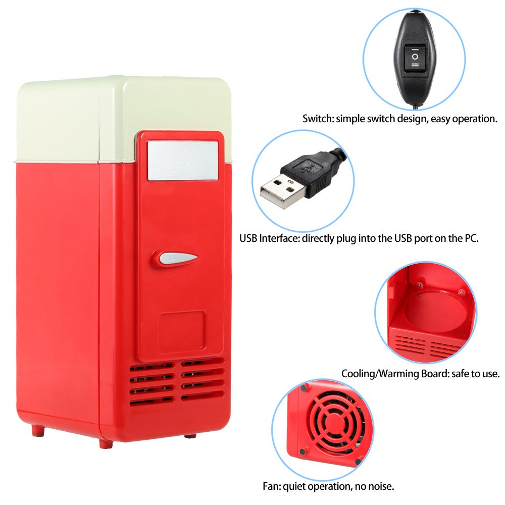 Mini Fridge, Portable USB Cooler and Warmer Dual-Purpose Refrigerator Small Fresh Keeping Cabinet for Office Outdoor by TRIEtree (red) by TRIEtree (Image #4)
