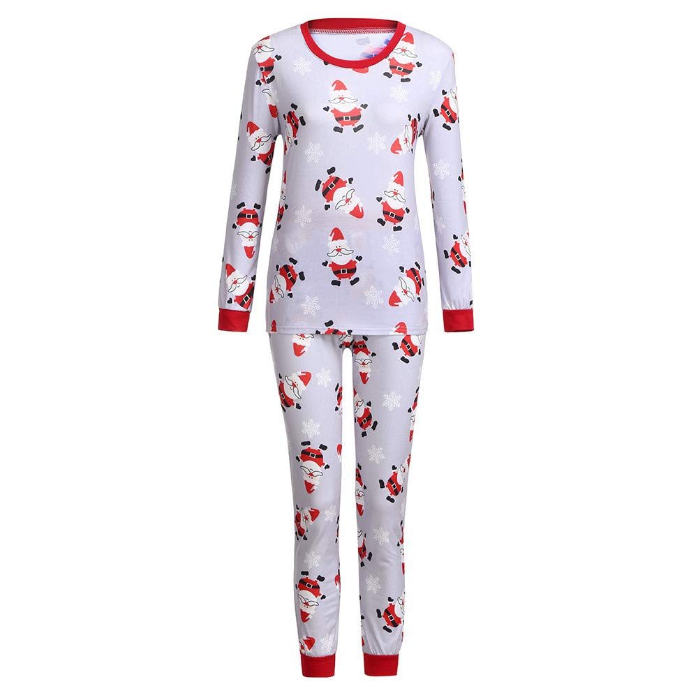 YunZyun 2 Piece Women Christmas Santa Claus Pajama Sets Jammies Matching Family Winter Long Sleeve Cartoon Fashion Novetly Warm Cotton Pjs Sleepwear for Girls Lady Mom(S-XXL) (Red, XL)