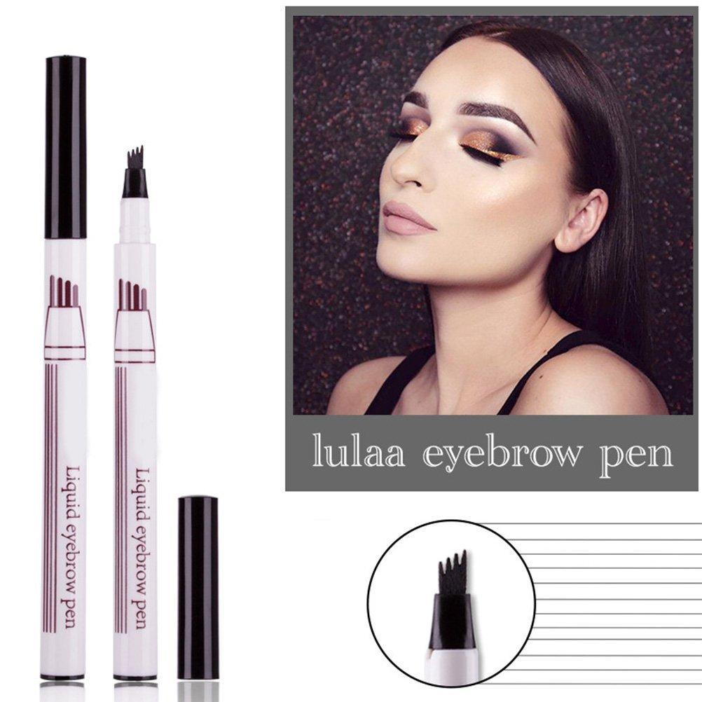 Lurrose Four Pronged Eyebrow Pencil Natural Waterproof Sweat-Proof Liquid Eyebrow Pencil (Maroon)