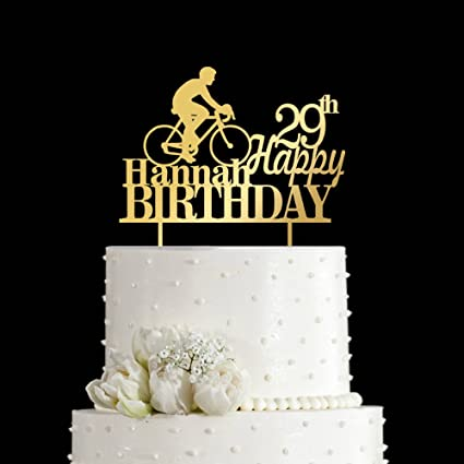 KISKISTONITE 29 Year Bike Riding Cake Toppers Happy Birthday 29th Name Customized