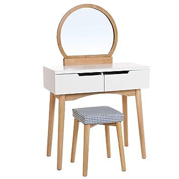 SONGMICS Coiffeuse, Table De Maquillage Avec Miroir Et Tabouret, Table De  Maquillage Avec 2