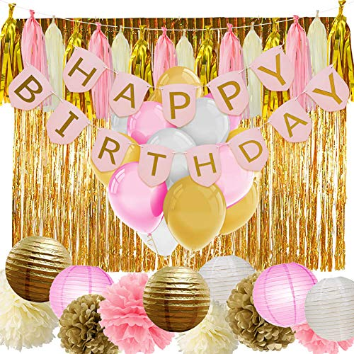 (PAXCOO Pink and Gold Birthday Decorations with Birthday Banner Balloons Tissue Flowers Paper Lanterns Fringe Curtain for Baby Shower Girls 1st)