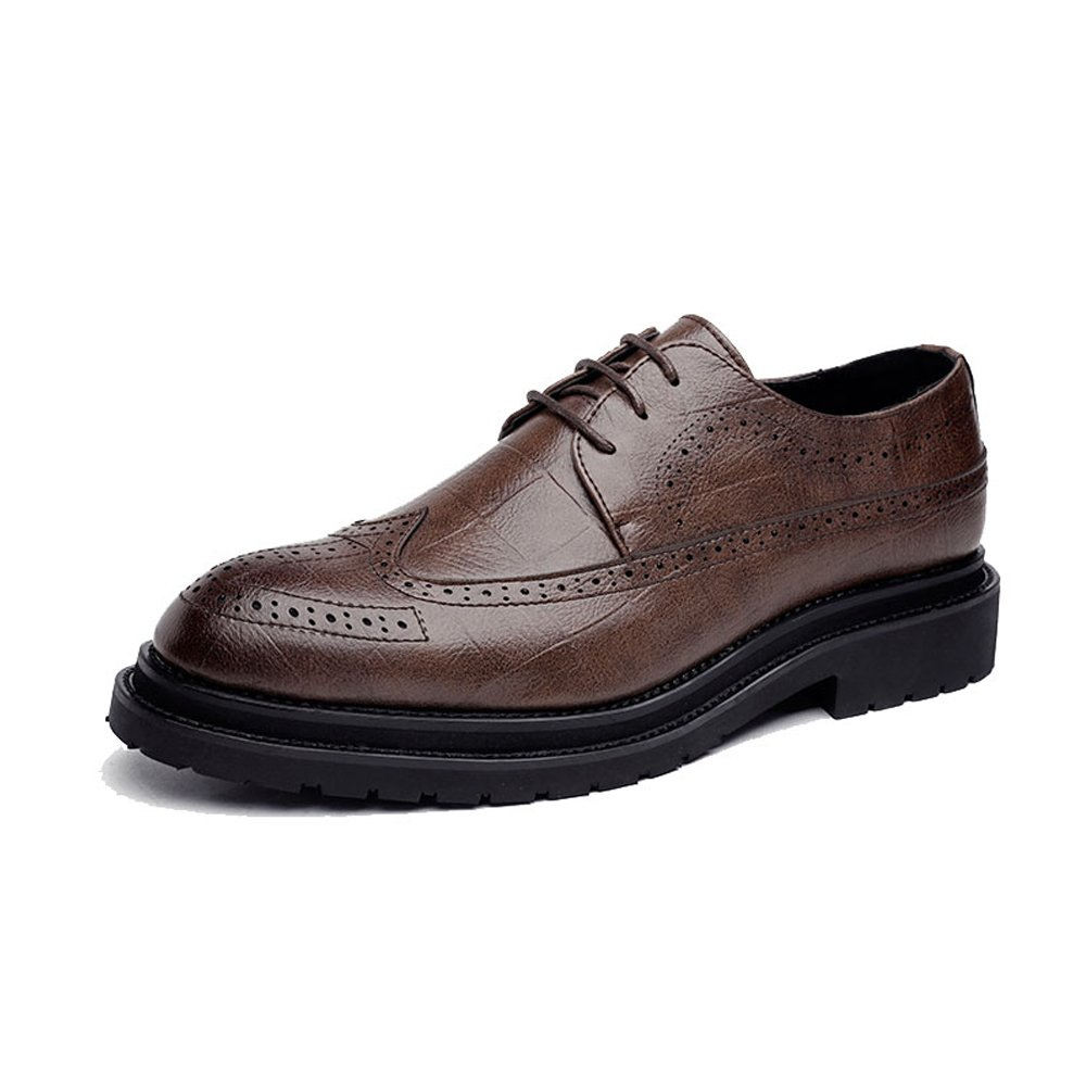 Bspringaaaa SCSY -Oxfordskor Simple herrar PU läder Brogue skor skor skor Classic Lace Up Andable Square Texture Formal Business Lined Oxford s  hälsosam