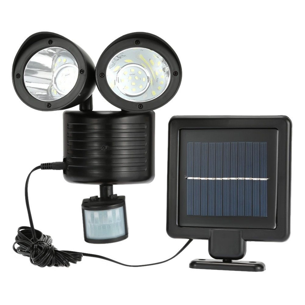 iMeshbean Black Solar Security Light Dual Head Solar Motion Sensor 22 LED Waterproof Outdoor Lamp Light Bright White Garden Light Adjustable
