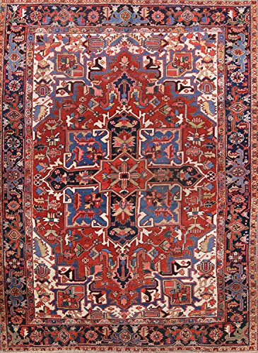 Pre-1900 Geometric Antique 8x11 Geometric Hand Made Heriz Serapi Persian Area Rug (10' 7'' X 7' 11'')