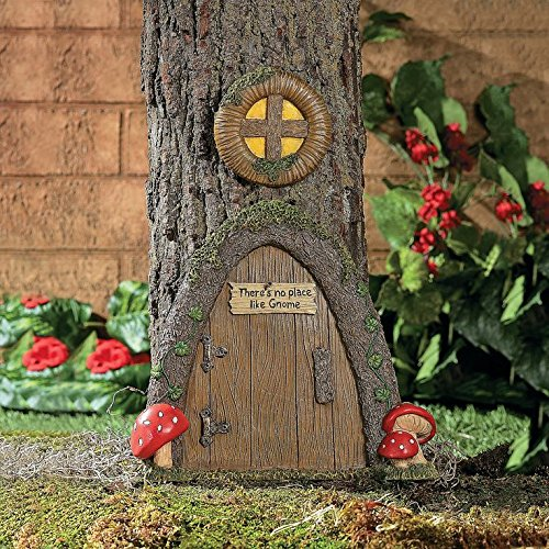 Garden Gnome Home Door in a Tree Art Pieces Outdoor Yard -