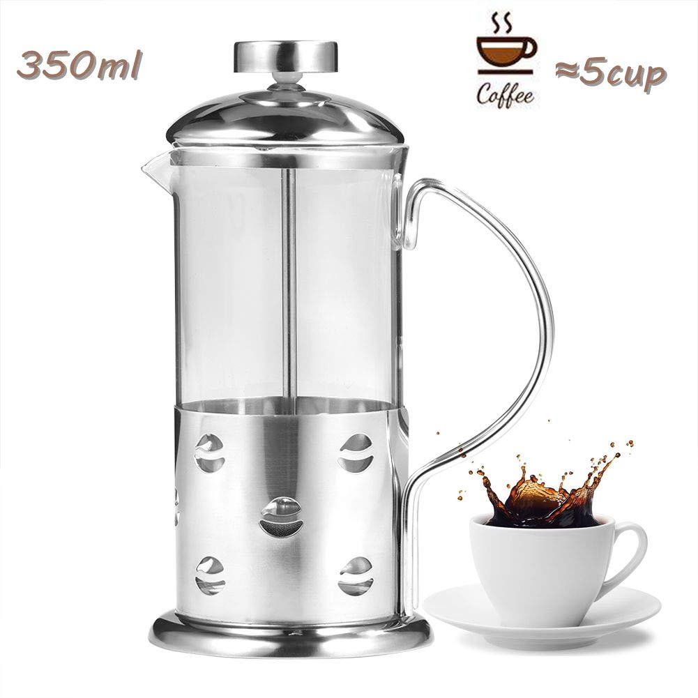 Cafetera, 350/600/800 ml Vidrio francés de acero inoxidable ...
