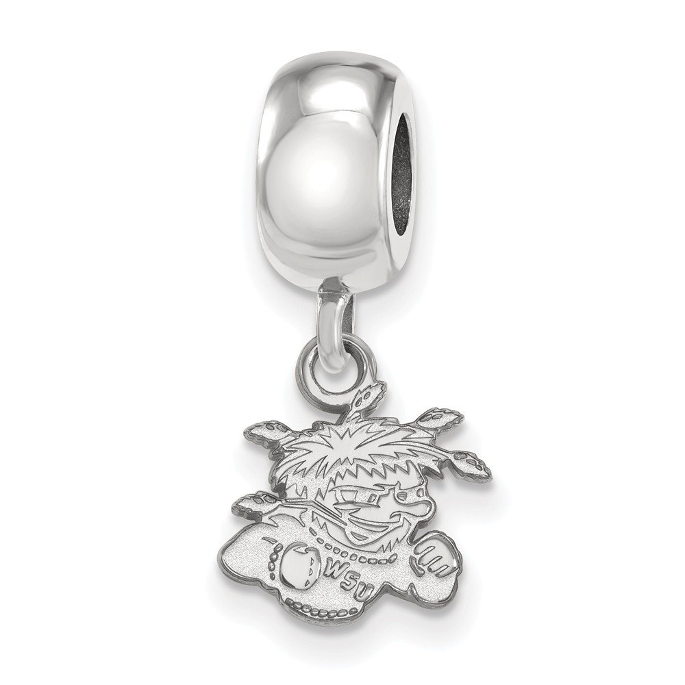 Jewel Tie 925 Sterling Silver Wichita State University Extra Small Dangle Bead Charm Very Small Pendant Charm 11mm x 22mm