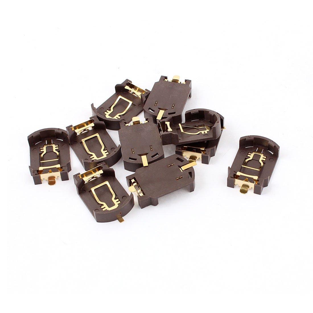 10Pcs Plastic Button Cell Battery Socket Holder for CR2032 Brown